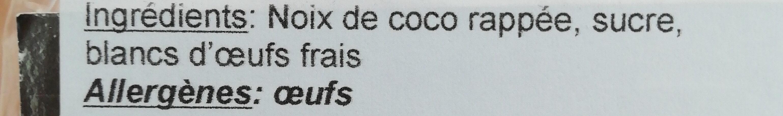Rochers coco - Ingrédients - fr