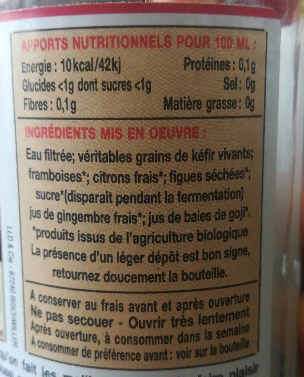 Kéfir de fruits framboise bio - Informations nutritionnelles - fr