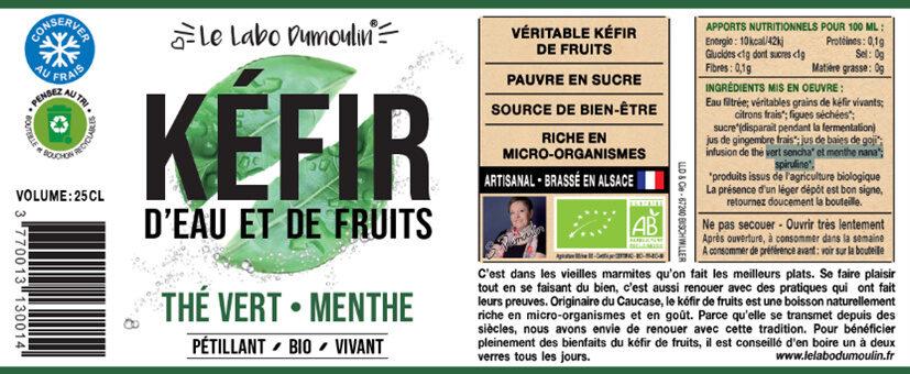 Kéfir de fruits Thé Vert Menthe bio - Ingrédients - fr