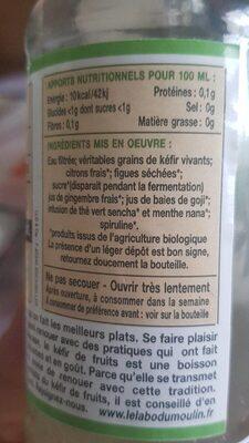 Kéfir de fruits Thé Vert Menthe bio - Informations nutritionnelles