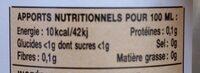 Kéfir de fruits Gingembre bio - Informations nutritionnelles - fr