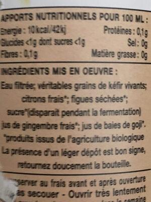 Kéfir de fruits Citron bio - Ingrédients - fr