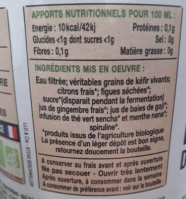 Kéfir de fruits Thé Vert Menthe bio - Informations nutritionnelles - fr