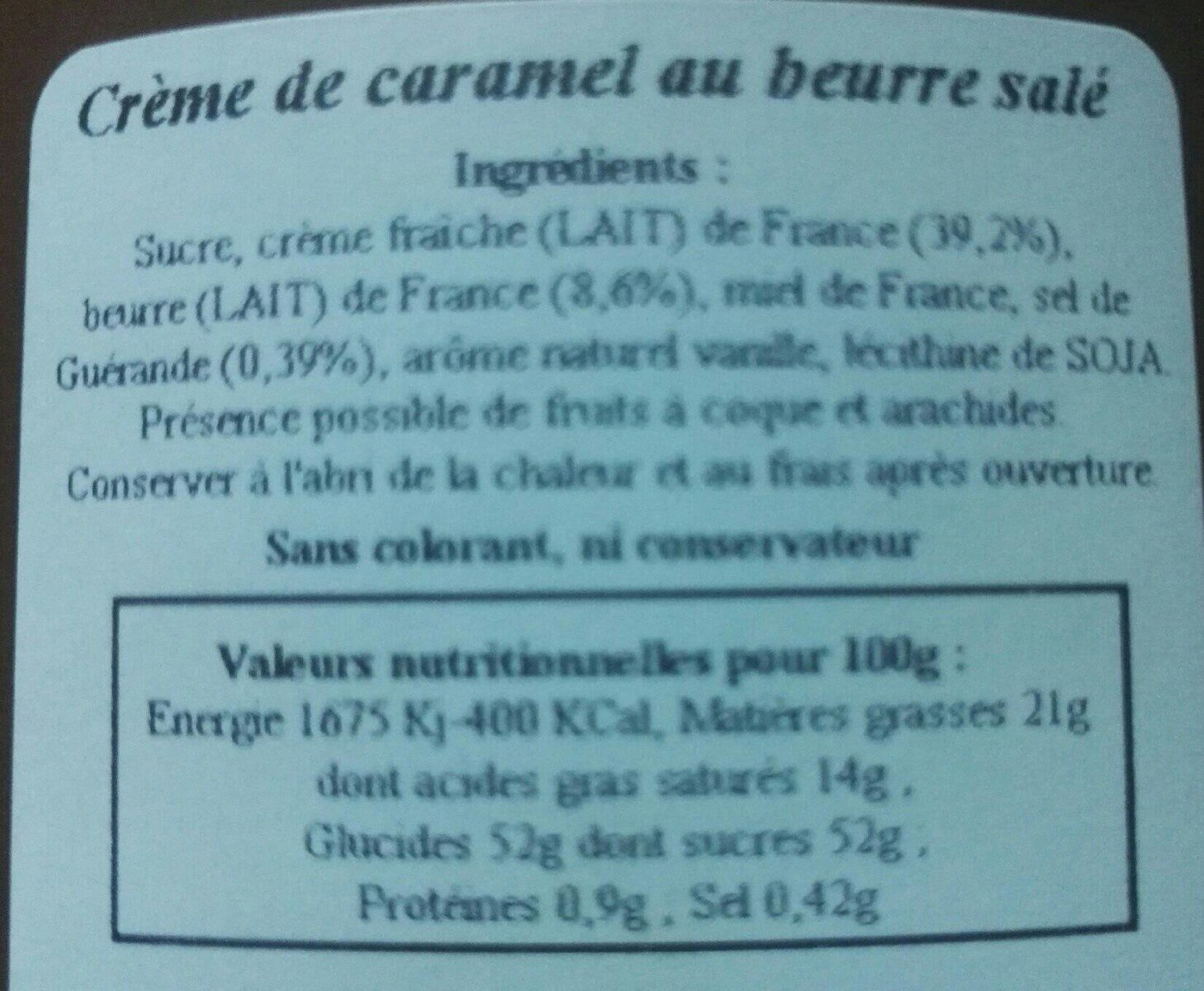 Crème de caramel au beurre salé - Informations nutritionnelles - fr