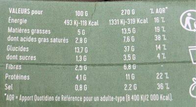 Risotto crémeux aux légumes verts - Informations nutritionnelles - fr