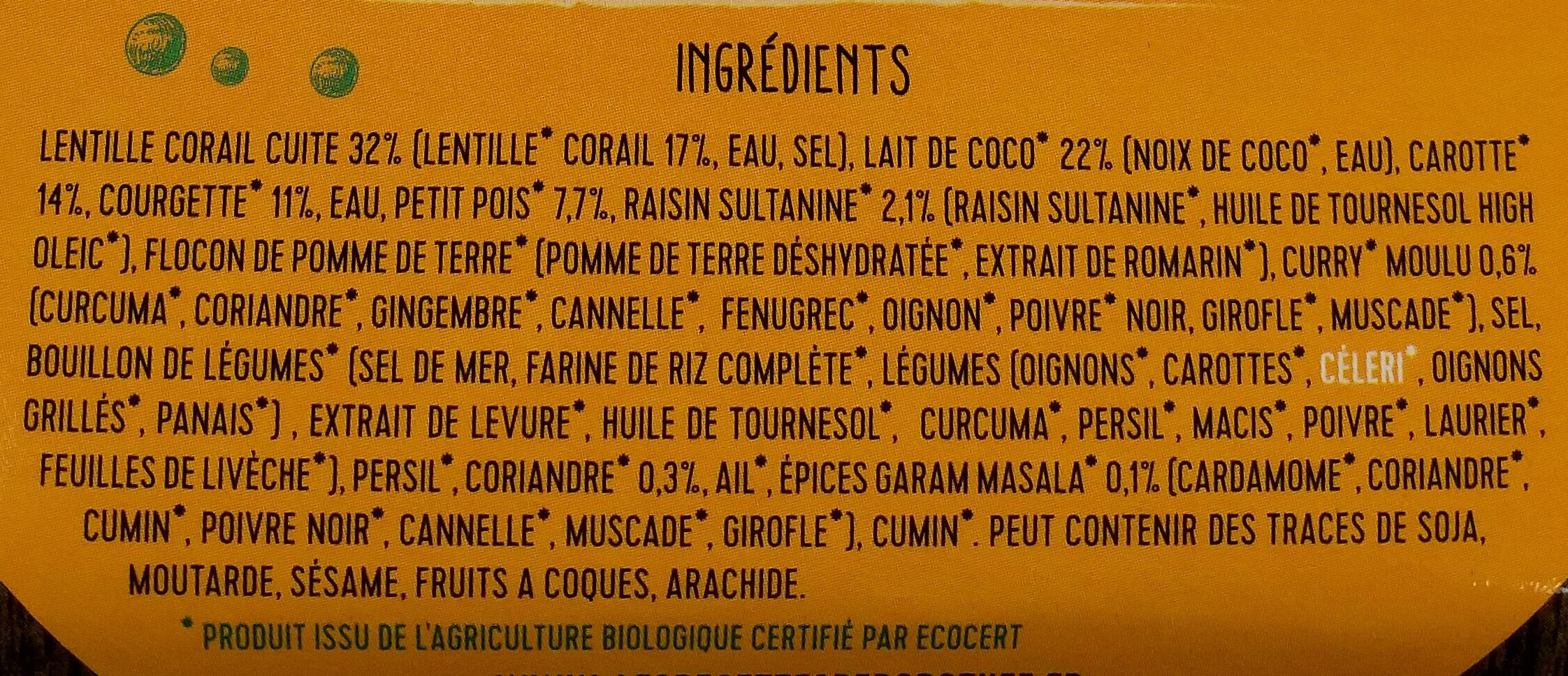 Dahl lait de coco - Ingrediënten
