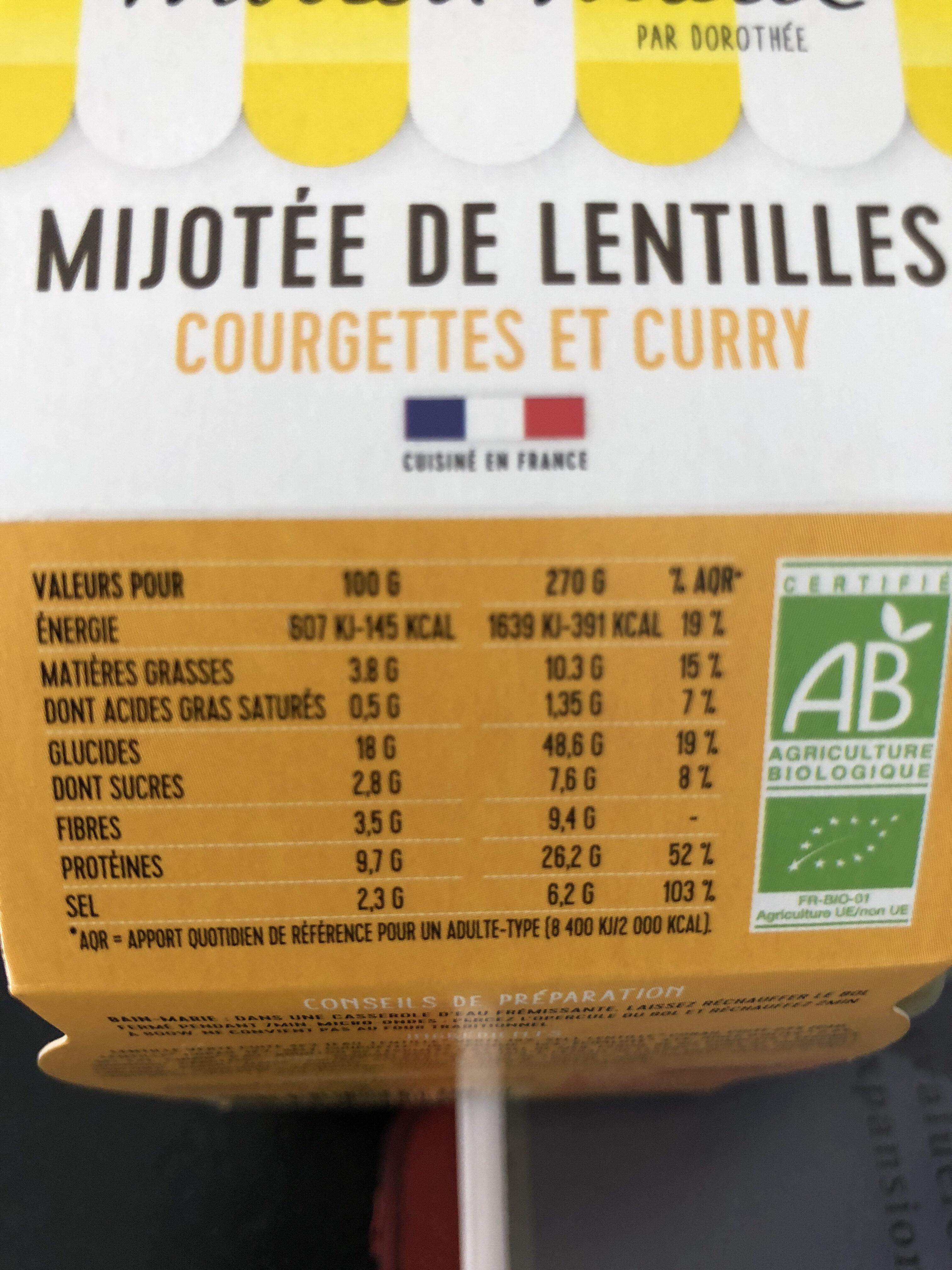Mijotée de lentille - Informations nutritionnelles - fr