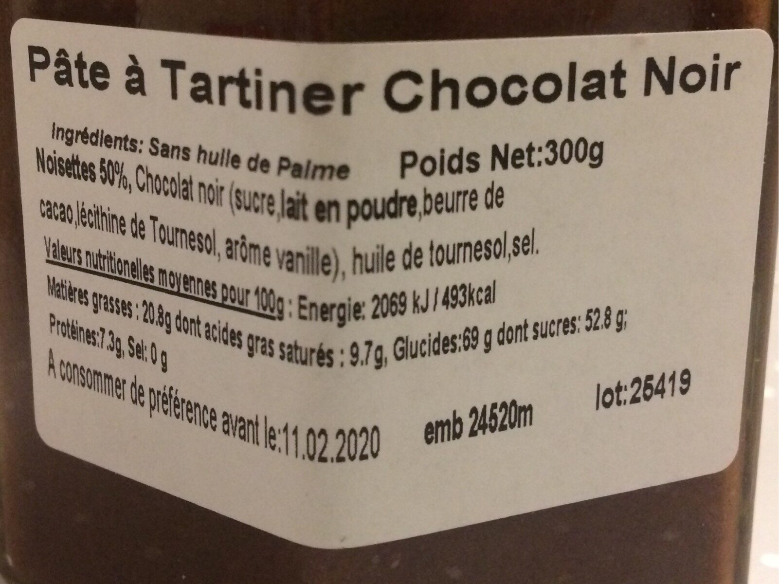 Pate à tartiner chocolat noir - Nutrition facts - fr