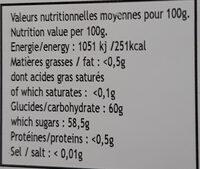 confiture de fraise du Burkina Faso - Nutrition facts