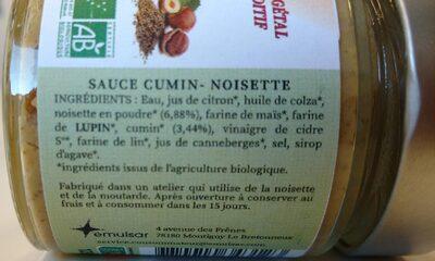 Sauce Cumin Noisette - Ingrediënten - fr