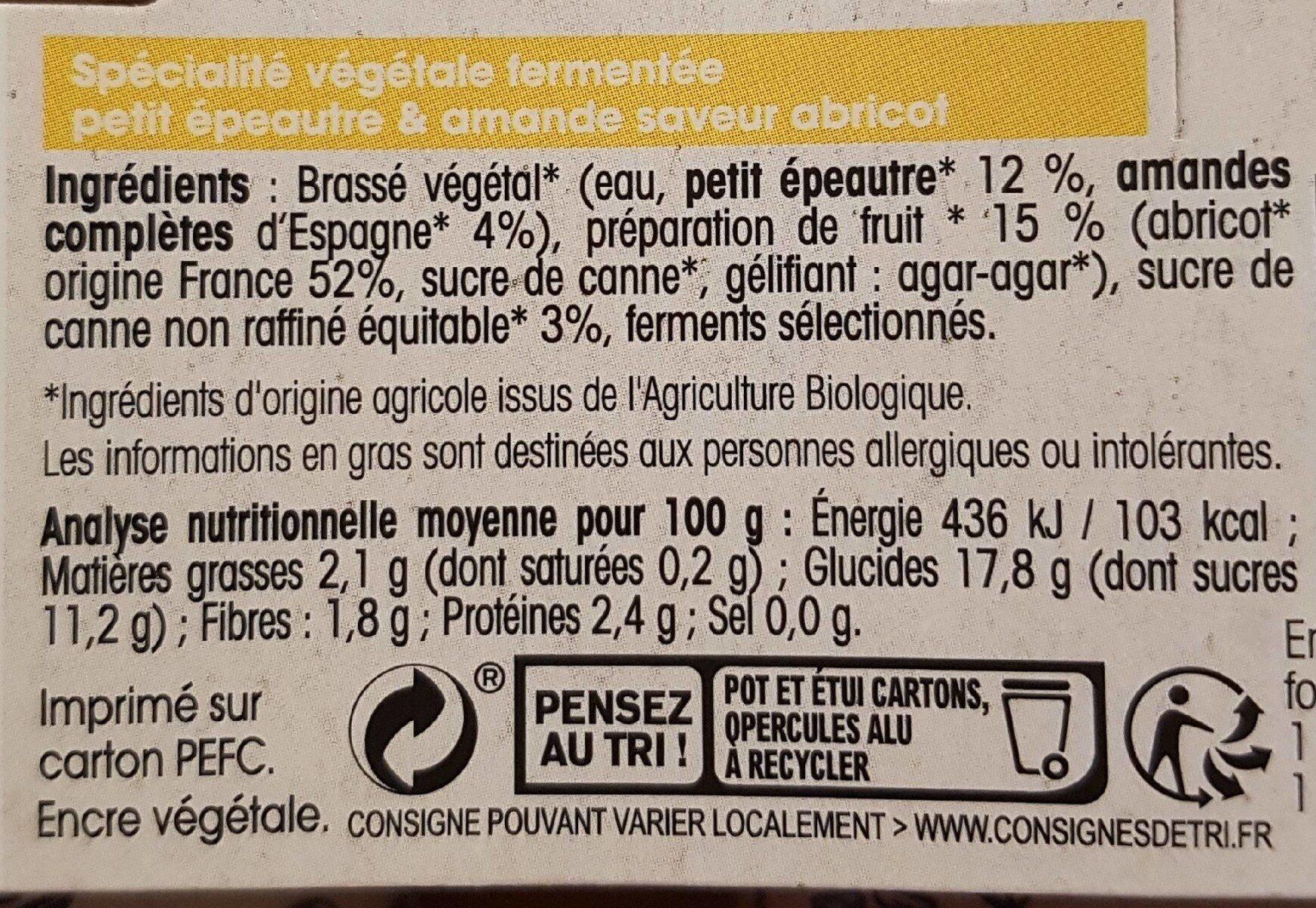 Petit épeautre et amande Abricot - Informations nutritionnelles - fr