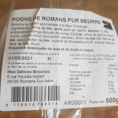 Pogne de Romans pur beurre - Ingredienti - fr