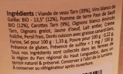 Blanquette de veau double Gaillac - Ingredienti - fr