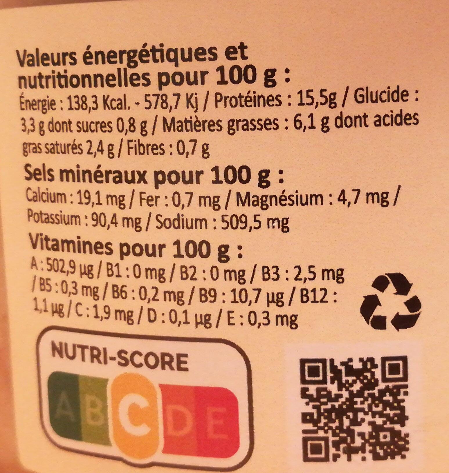 Blanquette de veau double Gaillac - Valori nutrizionali - fr