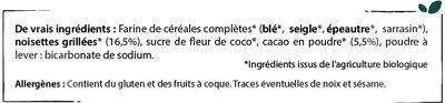 Céréales petit déjeuner - Cacao & Noisettes grillées - Ingrédients