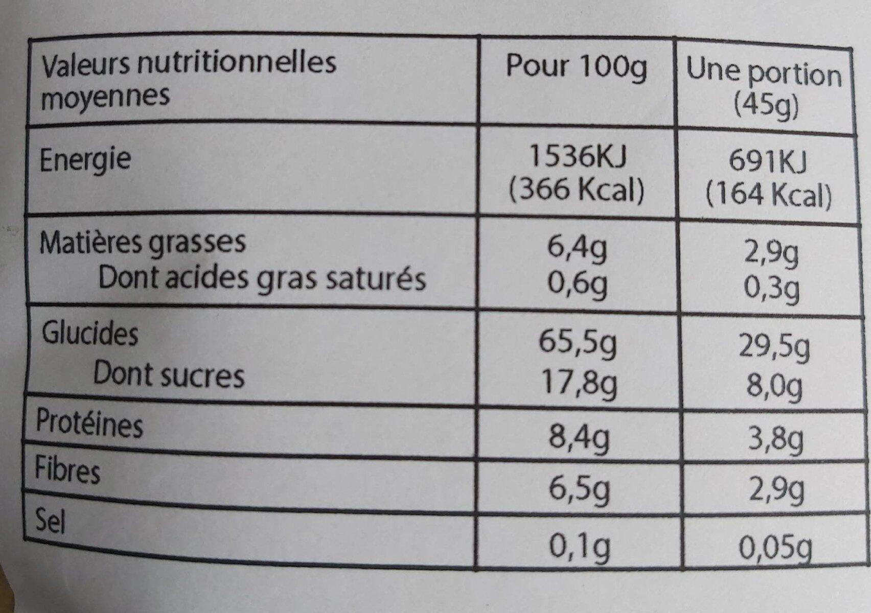 Céréales petit déjeuner - Pomme Cannelle - Informations nutritionnelles - fr
