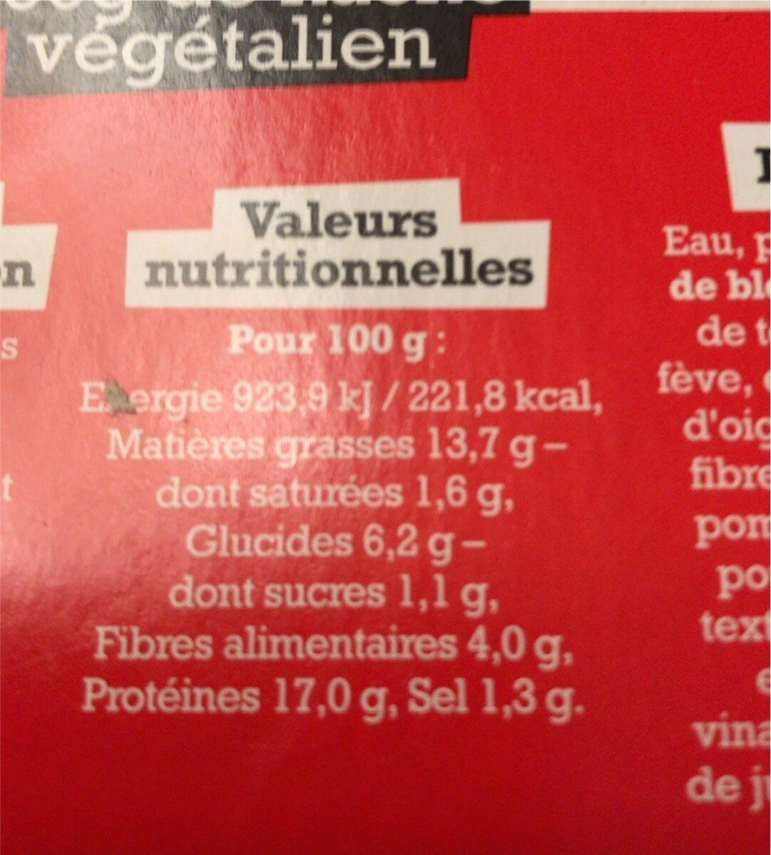Haché végétal et gourmand - Informations nutritionnelles - fr