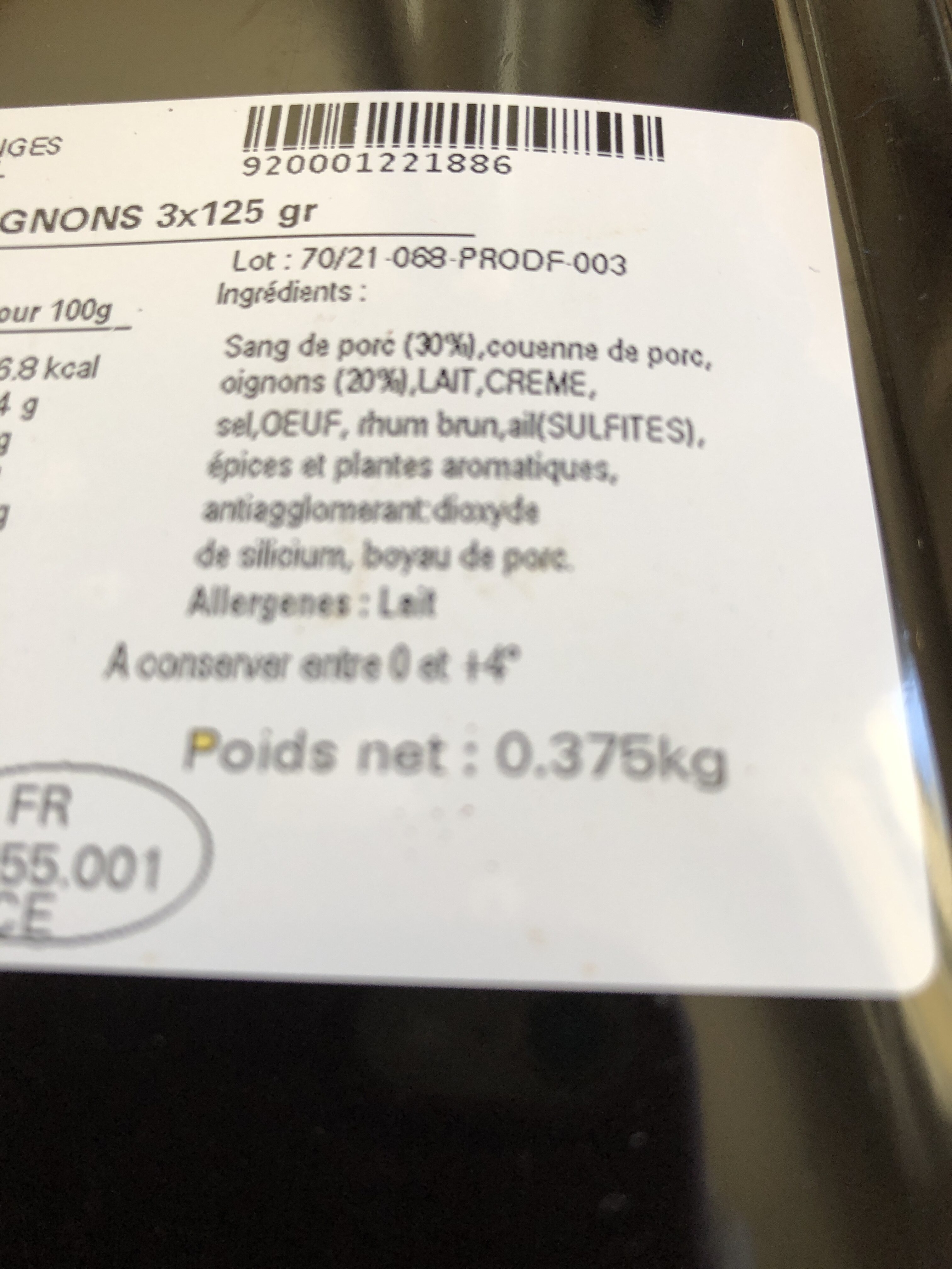 Boudin aux oignons - Ingredients - fr