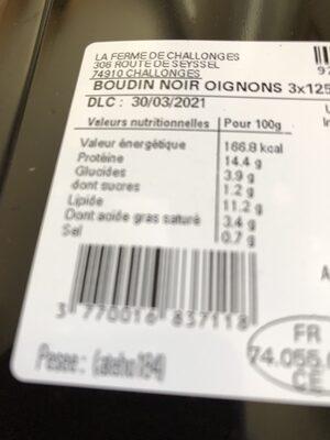 Boudin aux oignons - Nutrition facts - fr