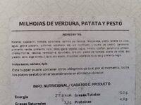 Milhojas de verdura, patata y pesto - Nutrition facts - es