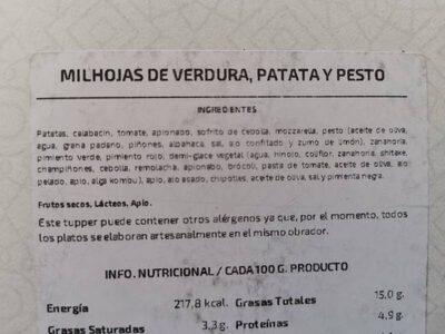 Milhojas de verdura, patata y pesto - Nutrition facts