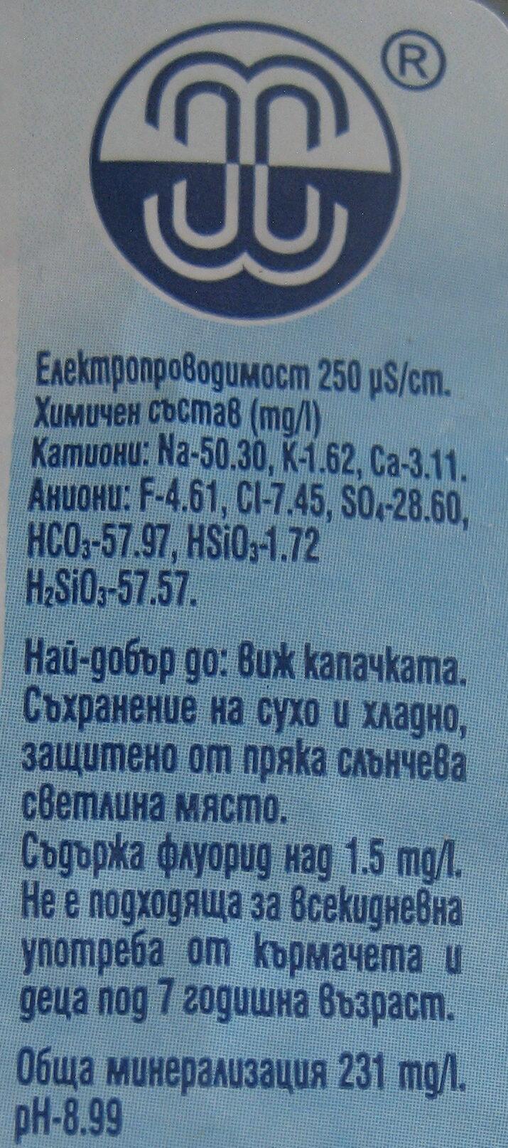 Хисар натурална минерална вода - Ingredients - bg