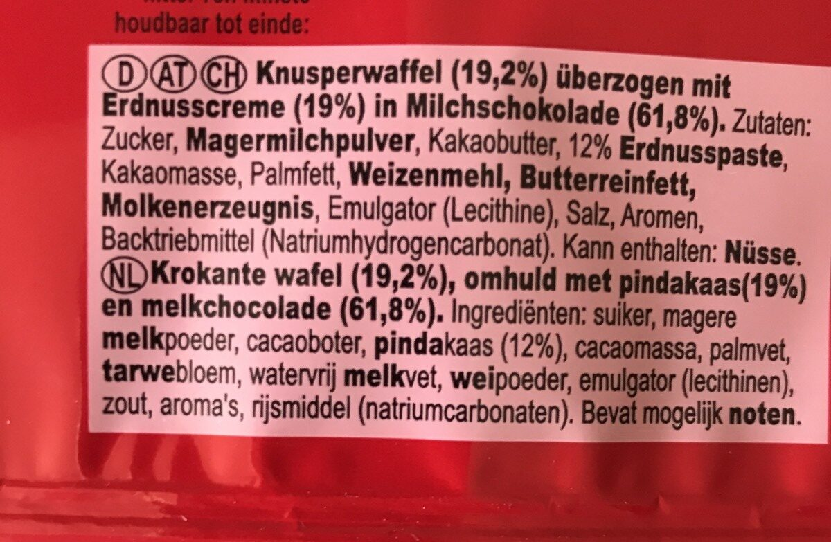 Kitkat Peanut Butter - Ingredients