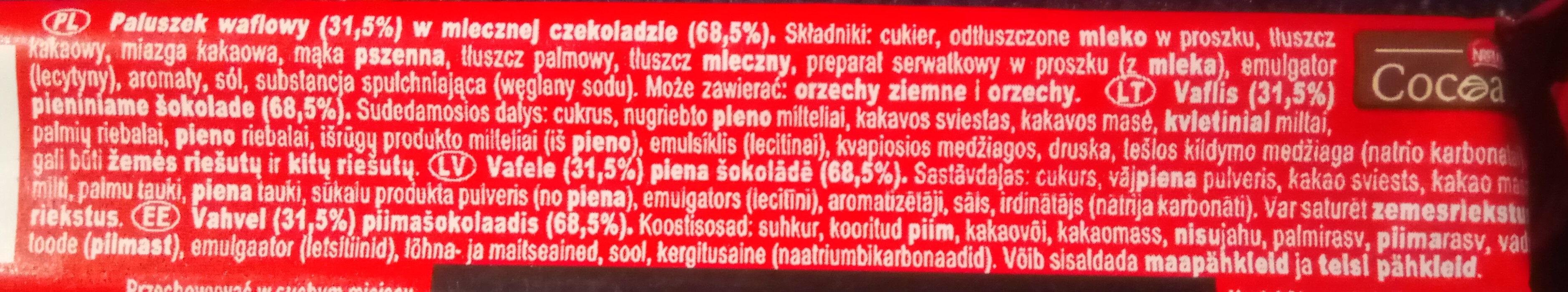 Paluszek waflowy w mlecznej czekoladzie - Składniki