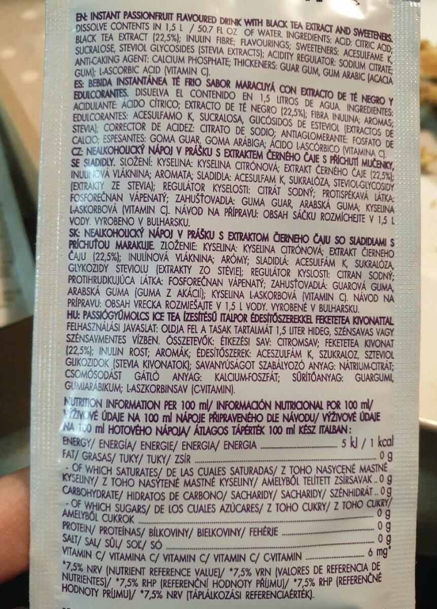Bolero Ice Tea Fruit De La Passion - Nutrition facts - en