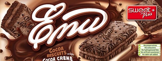Cocoa biscuits with cocoa creme Emi - Produkt - en