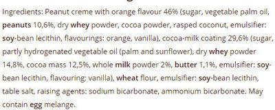 VARNA WITH PEANUT CREME AND ORANGE - Ingrediënten