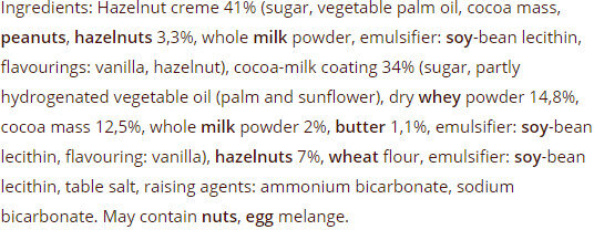 VAFELIĆE WITH HAZELNUTS - Ingredients