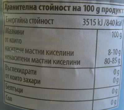 Рафинирано 100% слънчогледово олио - Nutrition facts