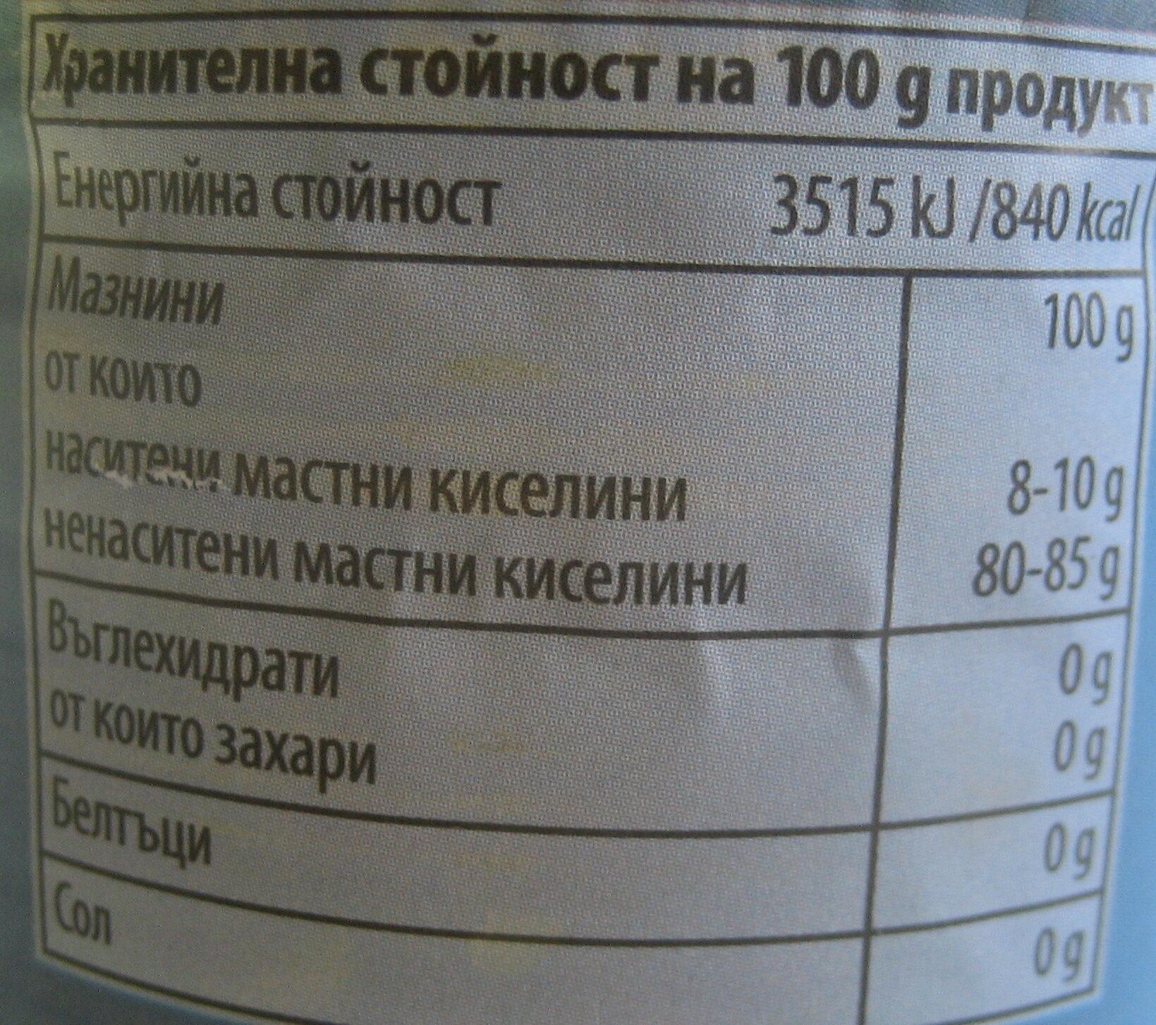 Рафинирано 100% слънчогледово олио - Informations nutritionnelles - bg