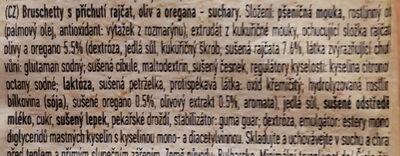 Bruschette chips paradicsommal olívával és oreganoval - Složení - cs