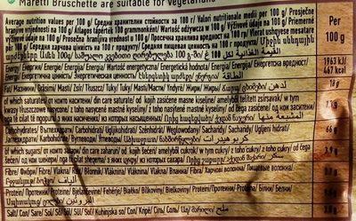 Bruschette Tomato Olives and Oregano - Nutrition facts