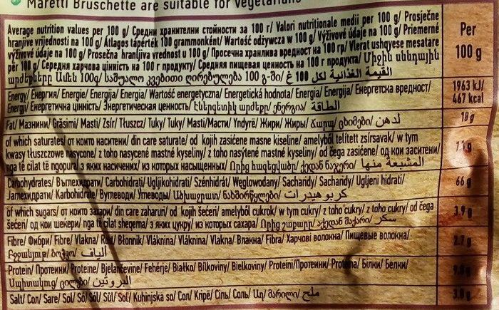 Bruschette chips paradicsommal olívával és oreganoval - Nutrition facts - sr
