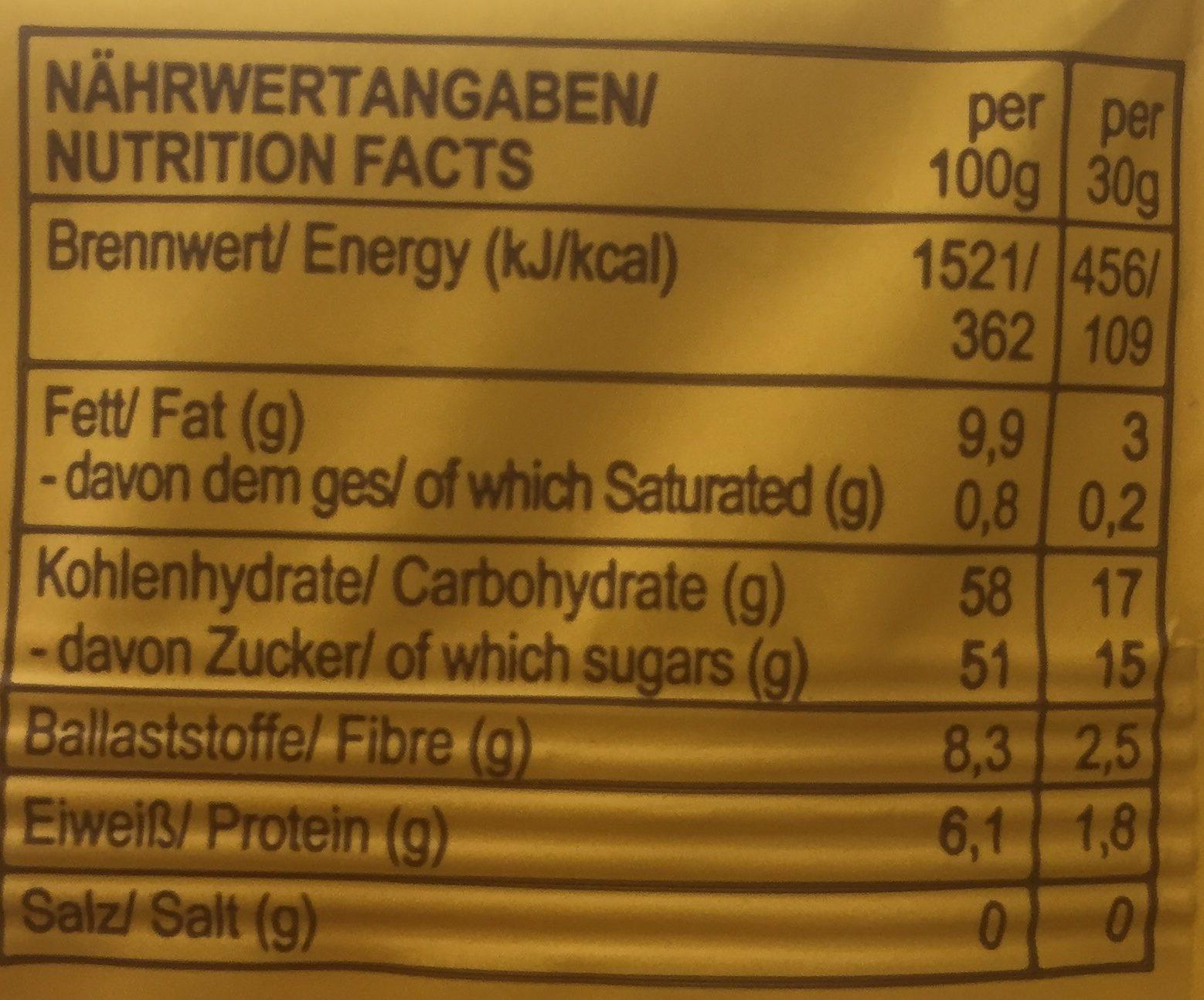 Roo`bar Bio Rohkostriegel Maca Vegan 30 g - Informations nutritionnelles - de