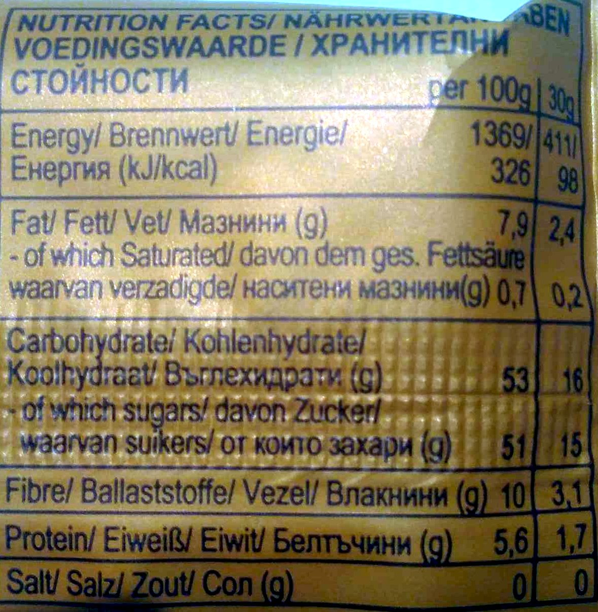 Inca berry - Nutrition facts - fr