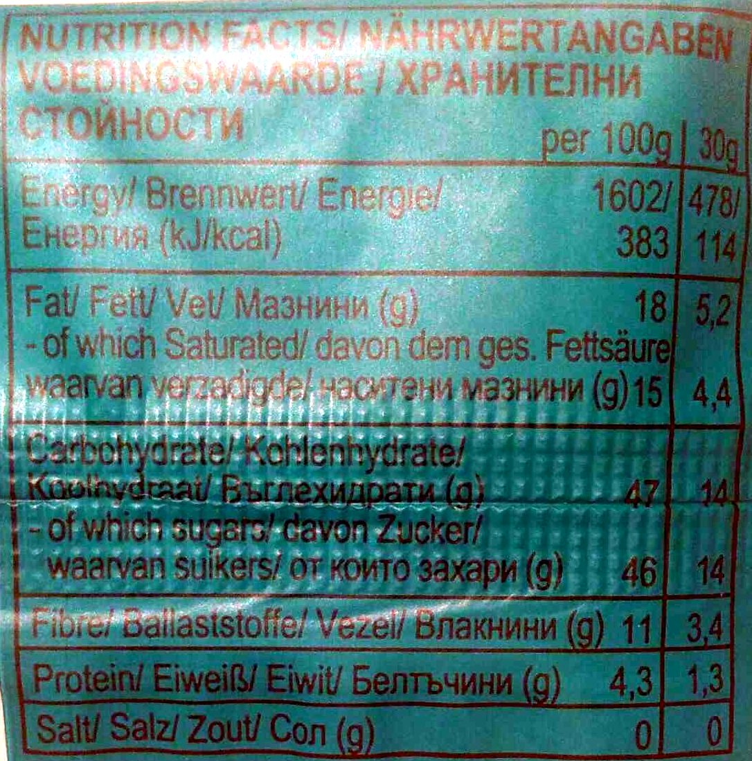 Chia Coconut - Nutrition facts