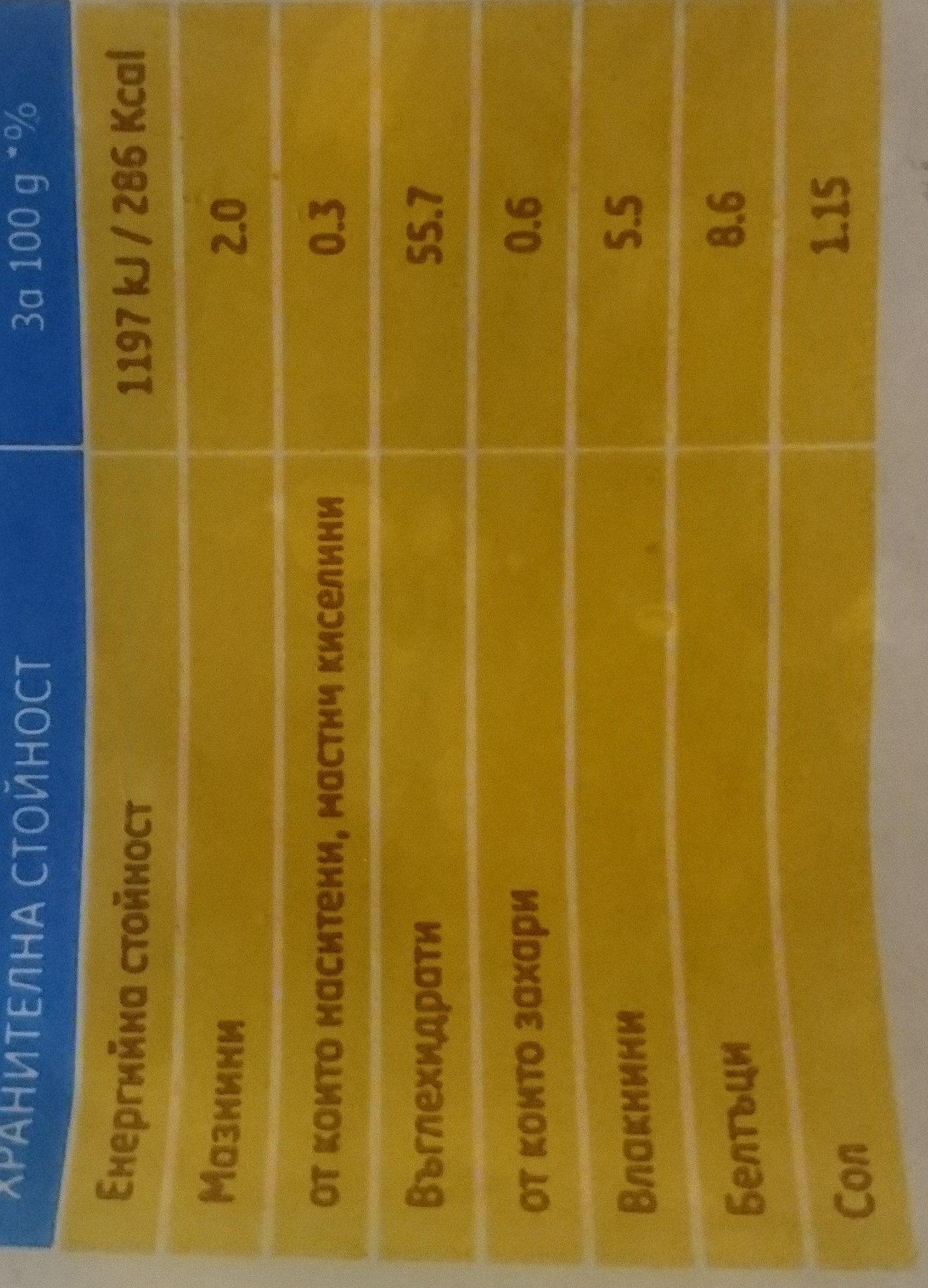 Зърнена мозайка - Хранителна информация - bg