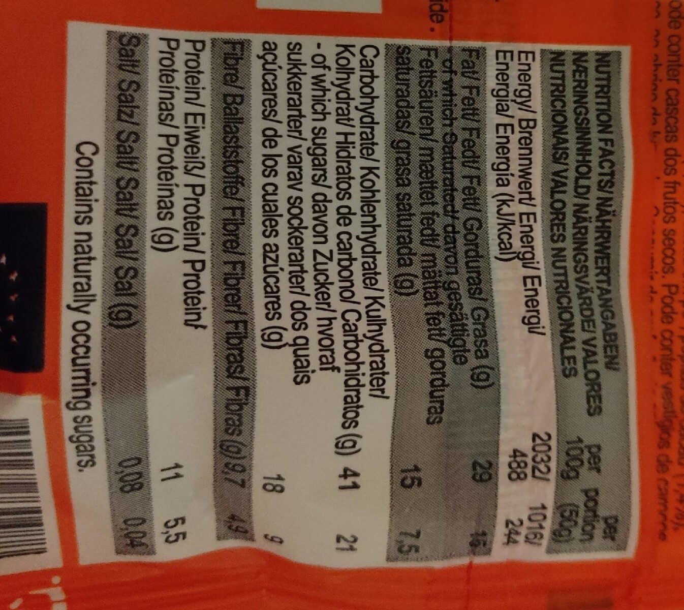 Cacao nibs walnut - Nutrition facts - fr
