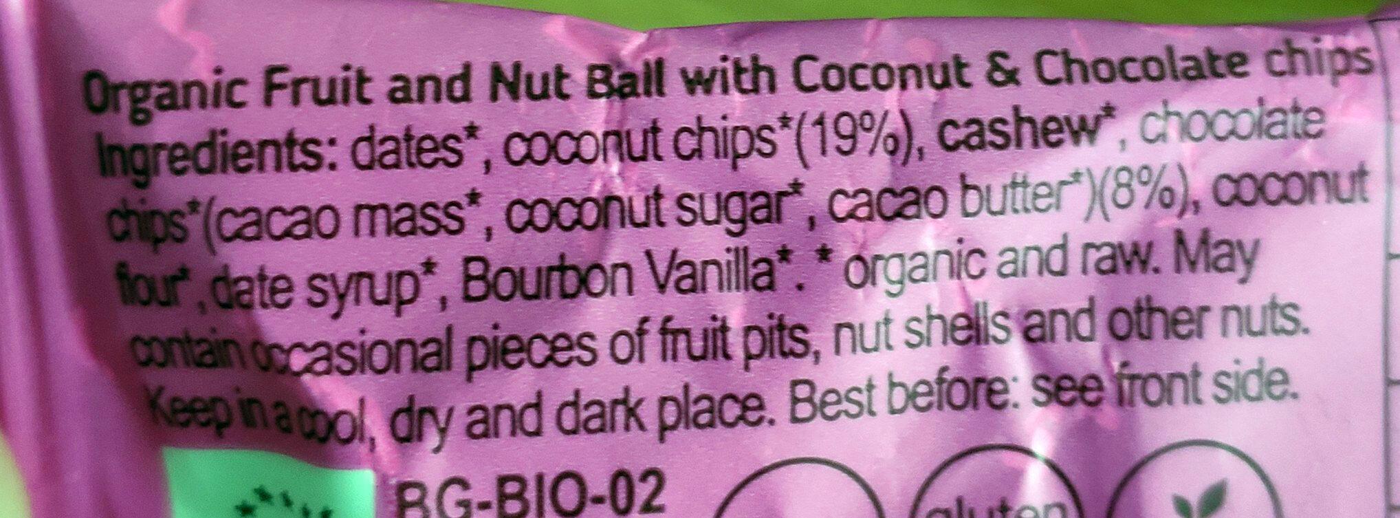 Choc chip coconut brownie ball - Ingredienti - en