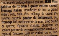 Mini galettes de riz brun à grains entiers saveur fromage italien - Ingrédients - fr