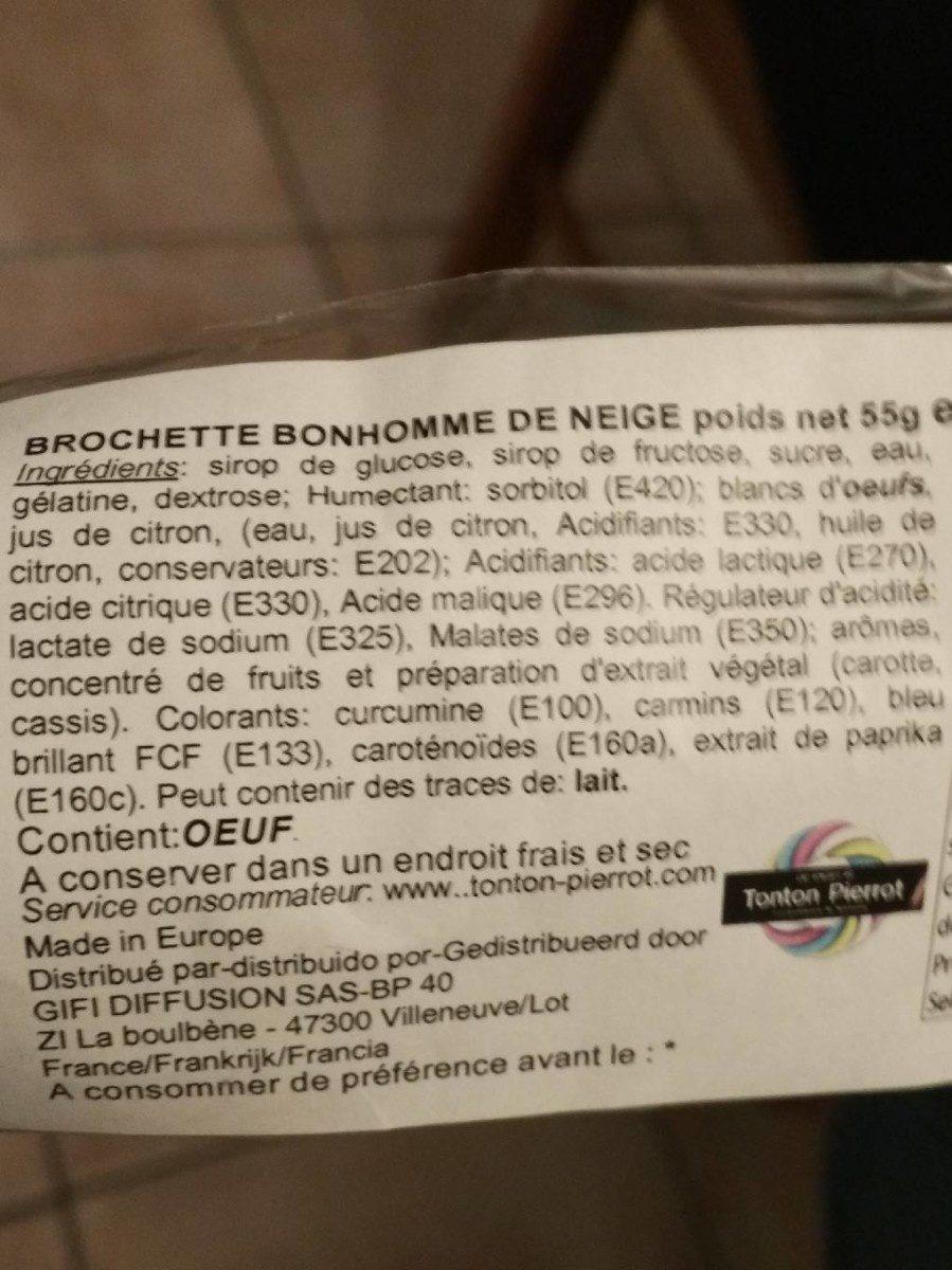 Brochette bonhome de neige - Ingrédients - fr
