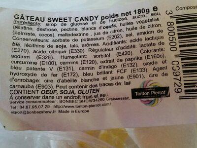 Tonton Pierrot Gâteau Sweet Candy 15X180G - Ingrédients - fr