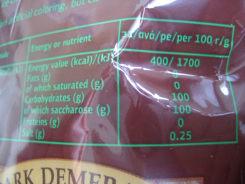 Кафява тръстикова захар - Nutrition facts - en
