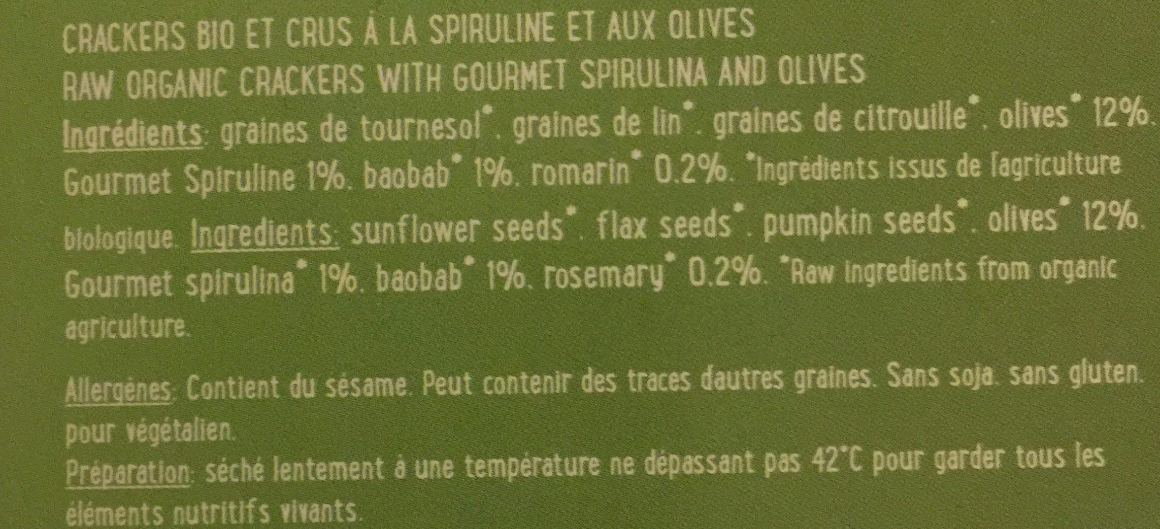Crackers spiruline et olives - Ingredients - fr