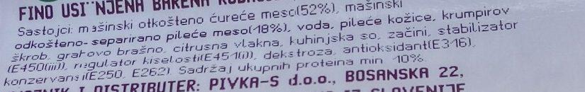 Ćureća viršla - Ingredients - sr