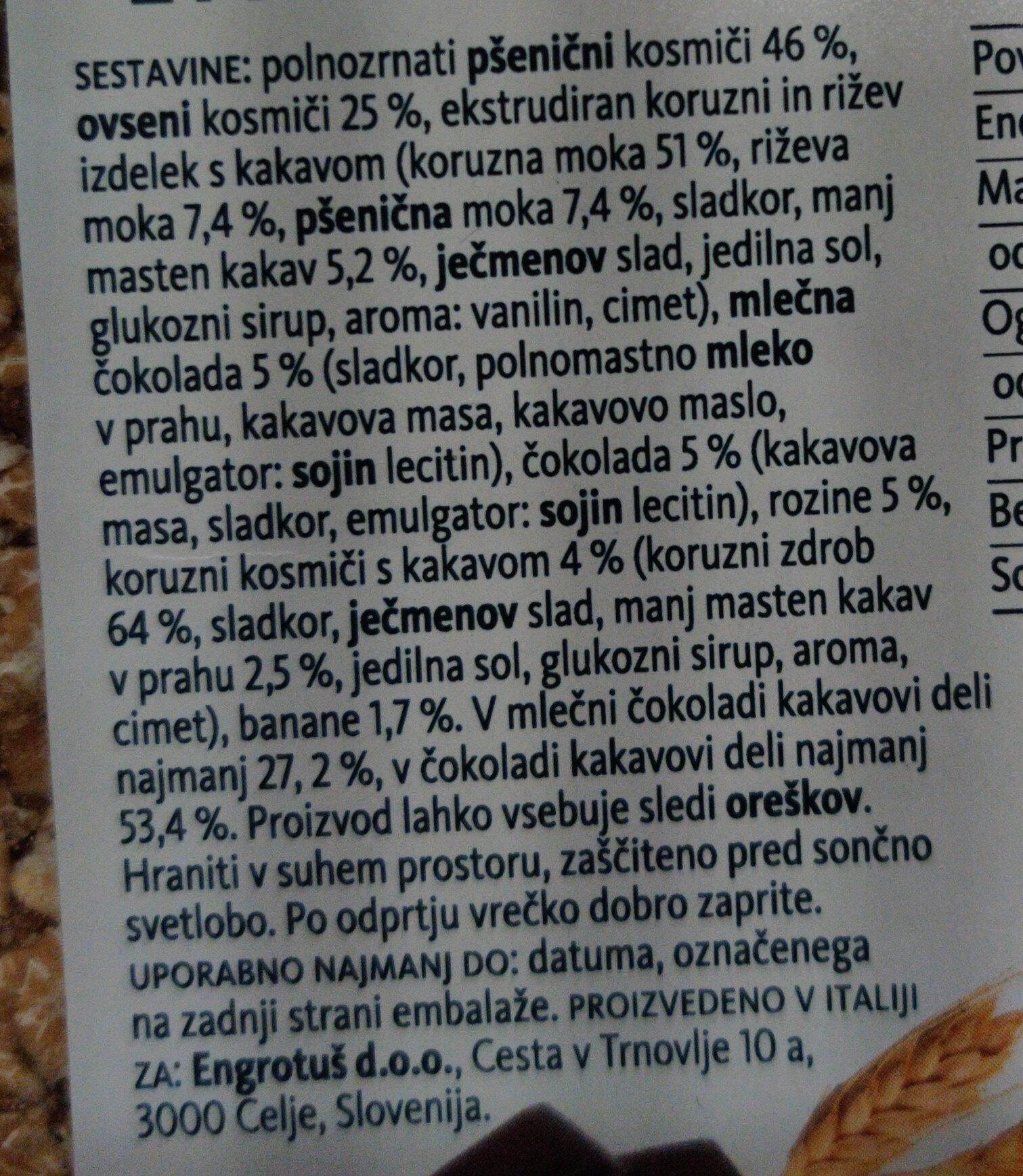 Hrustljavi žitni kosmiči s čokolado - Ingredients - sl